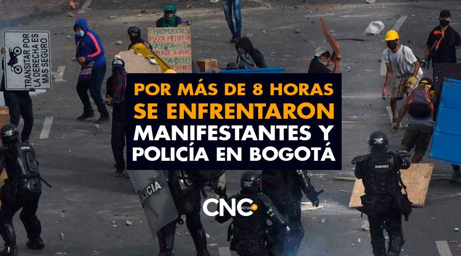 Por más de 8 horas se enfrentaron manifestantes y policía en Bogotá
